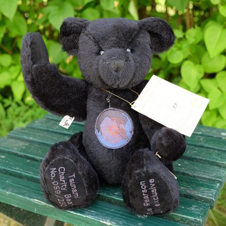 Black teddy bear. Tsunami Charity Bear 2005 by German manufacturer Hermann-Spielwaren GmbH.