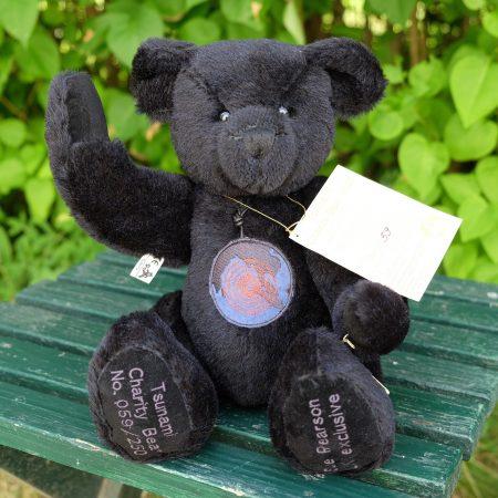 Black teddy bear. Tsunami Charity Bear 2005 by German manufacturer Hermann-Spielwaren GmbH.
