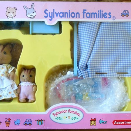 A blue bathroom by Sylvanian Families with Furbanks Squirrel Mother and Baby Girl.